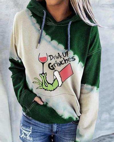 Christmas Women's Drink Up Grinches Tie-Dye Hoodie