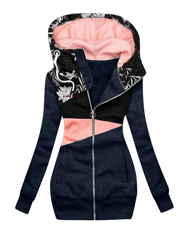 Women's Vacation Patchwork Extended Hooded Jacket