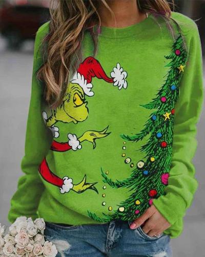 Women Christmas Grinch Tree Print Sweatshirt