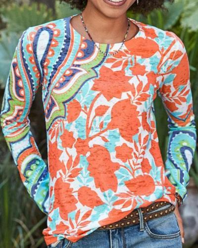 Vintage Leaf Print Crew Neck Long Sleeves T-shirt
