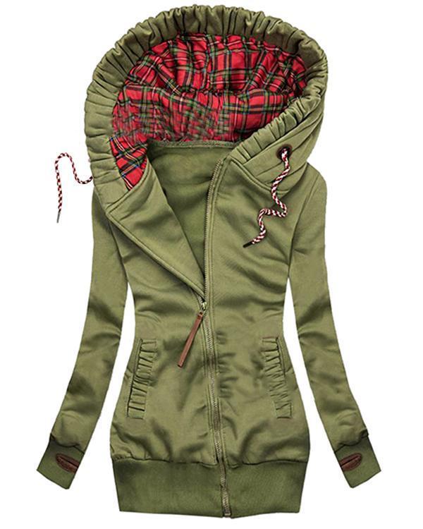Women Retro Daily Cotton Hooded Coat