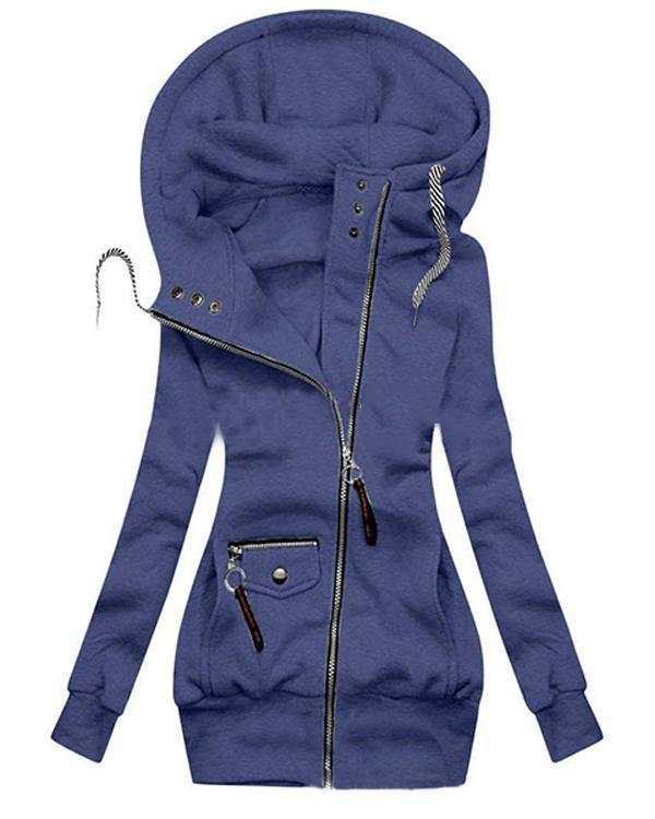 Hooded Long Sleeve Normal Pockets Hooded Jacket