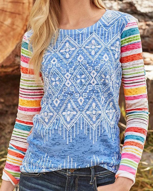Rainbow Color Print Paneled Long Sleeves T-shirt