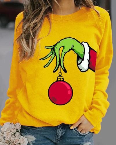 New Women Fashion Plus Size Vintage Holiday Crew Neck Shift Knitted Casual Sweatshirt Tops