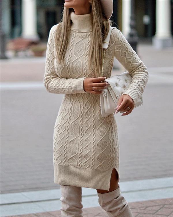 Elegant Solid Spiral Ribbed Tweed Turtleneck Slit Knitted Sweater Dress