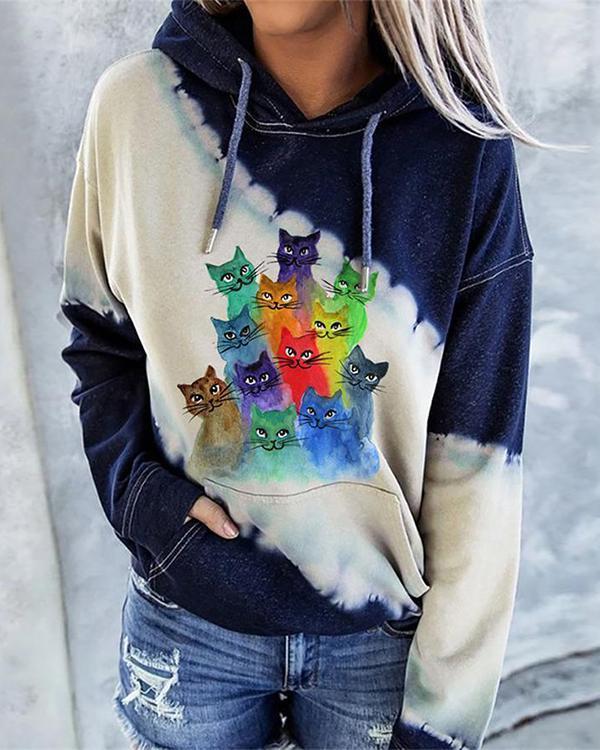 Ladies Cat Pattern Print Hoodie