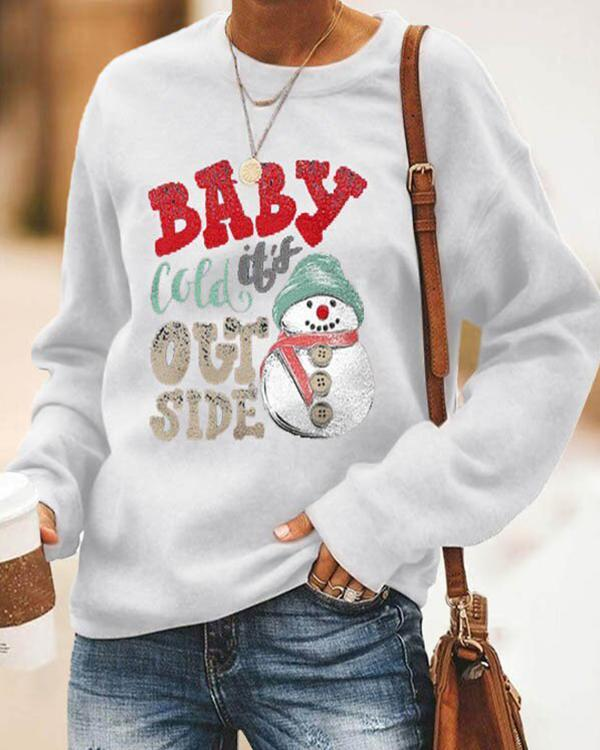 Baby Cold It's Out Side Letter Snowman Printed Cartoon Christmas T-shirt