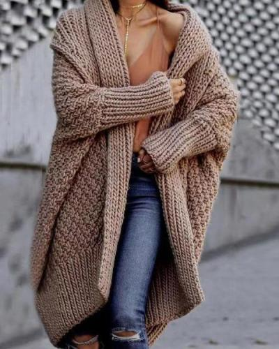 Women Solid Knitted Ribbed Tweed Holiday Hooded Cardigan