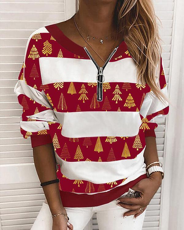 Fashion Christmas Stripe Zipper Neck Sweatshirt