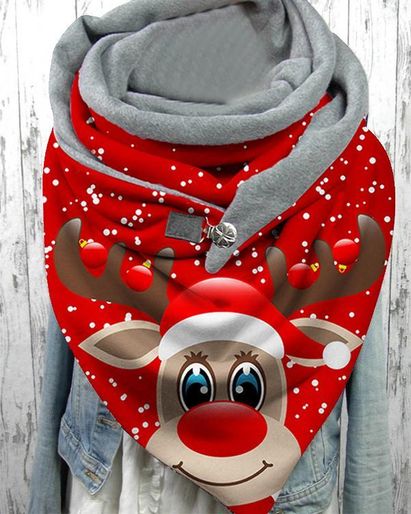Women Shawl Casual Christmas Cartoon Print Scarves with Button