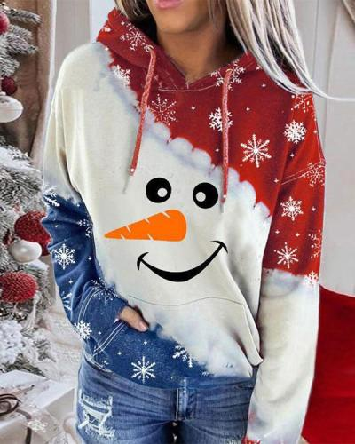 Christmas Red and Blue Contrast Print Hoodie Sweatshirt