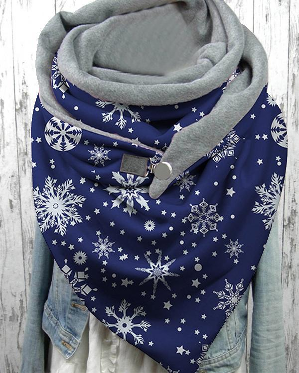 Women Shawl Casual Winter Scarf Christmas Scarves with Button