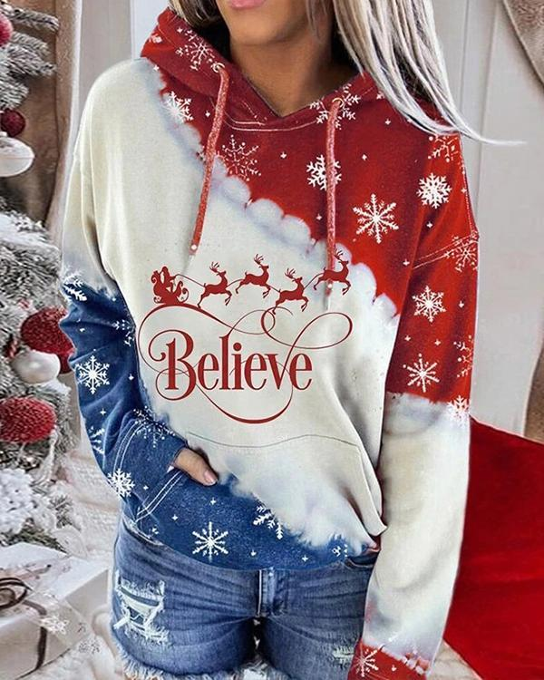 Christmas Red and Blue Contrast Print Hoodie Sweatshirt
