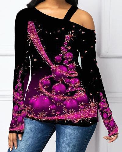 Casual One Shoulder Christmas Tree Print Long Sleeves T-shirt