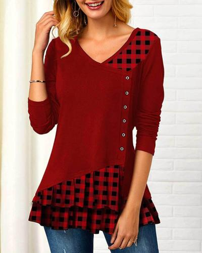 Casual V Neck Plaid Patchwork Ruffle Long Sleeves T-shirt