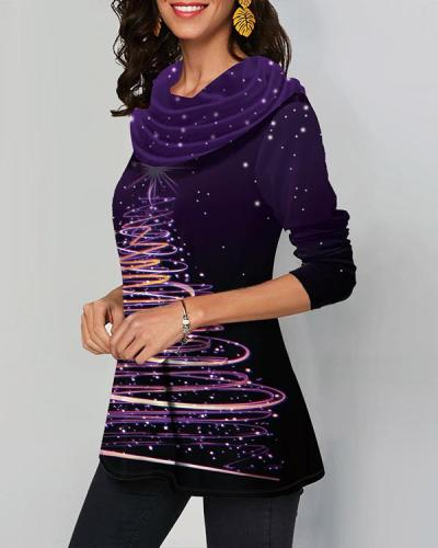 Casual Cowl Neck Christmas Long Sleeves T-shirt