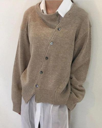 Autumn And Winter Irregular Button Sweater
