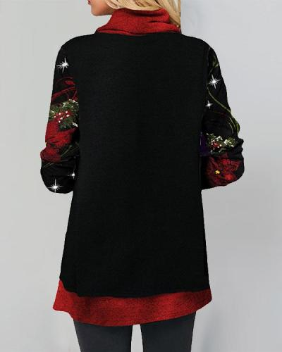 Casual Cowl Neck Christmas Long Sleeve Star Print Tunic Top