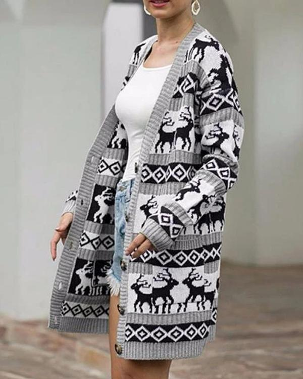 Winter Christmas Deer Sweater Cardigan