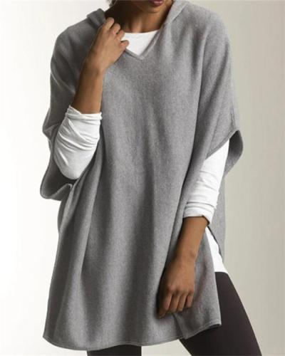 Knit Hoodie Solid Batwing Sweater