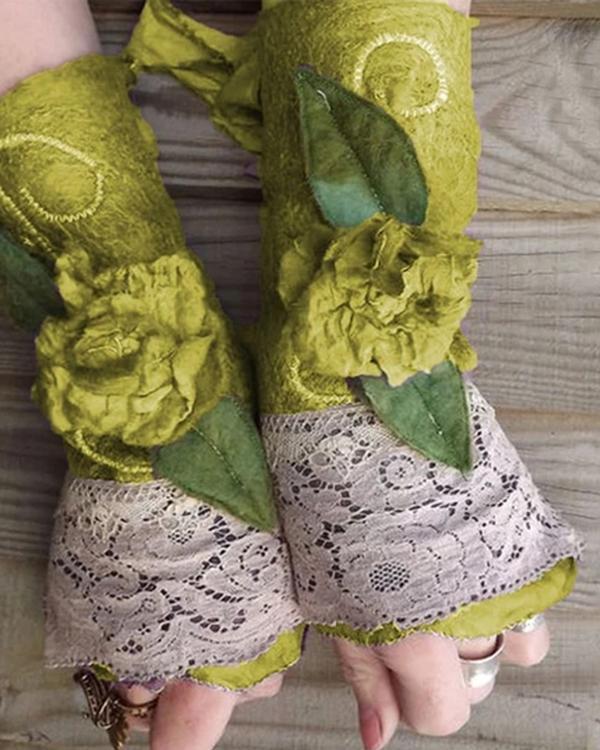 Vintage Holiday Christmas Halloween Floral Leaf Decoration Appliqued Lace Half-finger Gloves