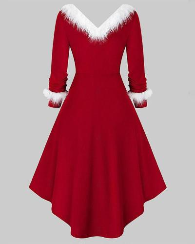 Christmas Solid Long Sleeves A-line Elegant Gown Princess Dress