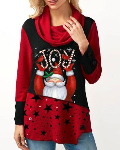 Casual Cowl Neck Christmas Santa Claus Print Tunic Top