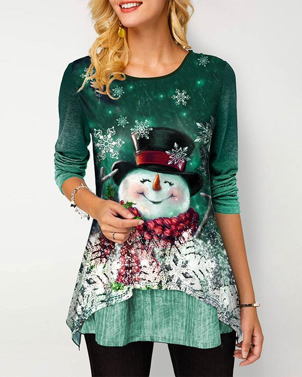 Round Neck Gradient Christmas Snowman Print T Shirt