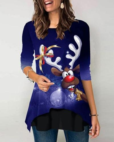 Christmas Cartoon Print Long Sleeves Layered Hem T-shirt