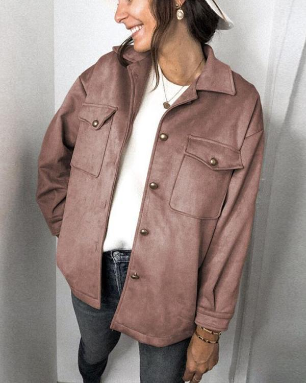 Street Fashion Solid Suede Buttons Down Pockets Lapel Collar Coat