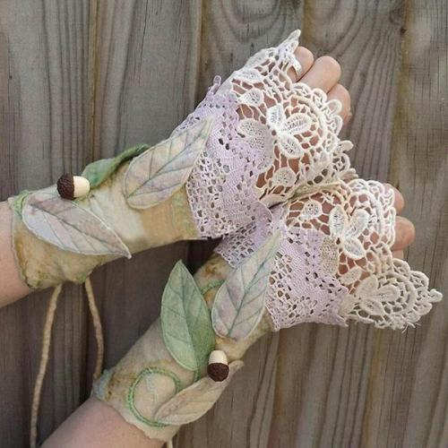 Retro Elegant Floral Leaf Appliqued Lace Gradient Fingerless Gloves