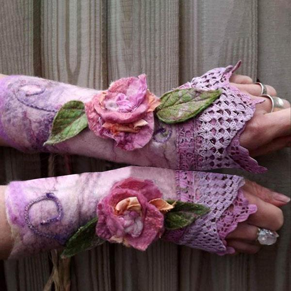 Retro Elegant Floral Leaf Appliqued Lace Gradient Fingerless Gloves