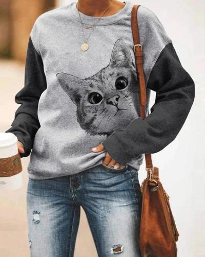 Women Cat Print Holiday Sweatshirt