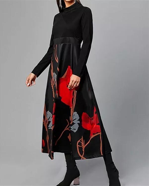 Vintage Floral Tunic Round Neckline A-line Dress