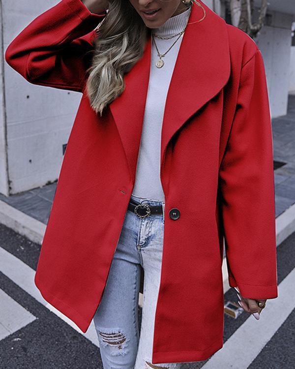 Fashionable Elegant Women Plain Turn Down Collar Long Coats