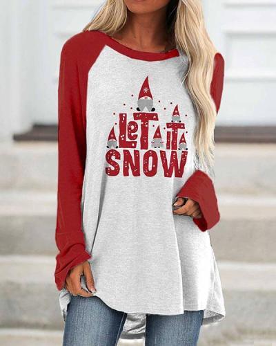 Christmas LET IT SNOW Print Long Sleeves Tops