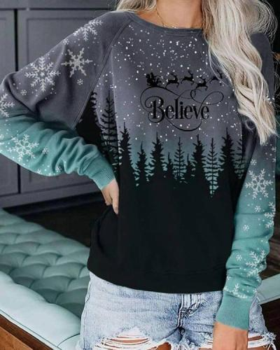 Women's Christmas Print Pullover Tops