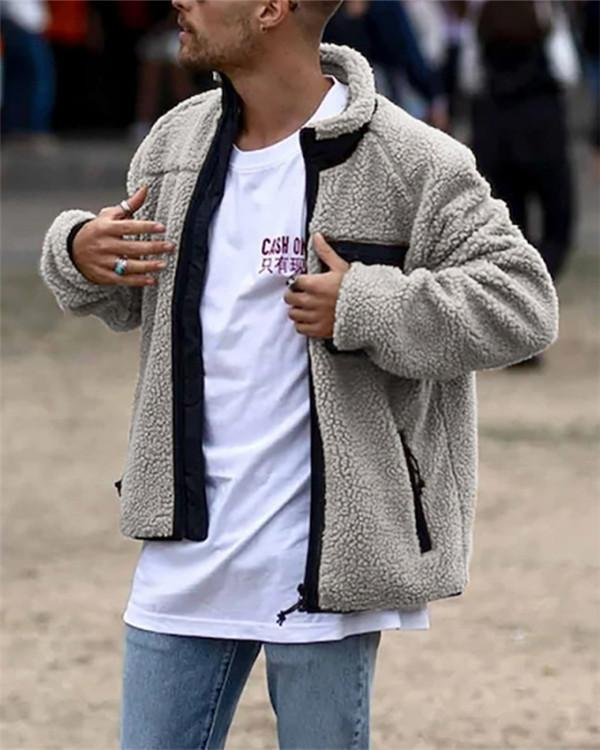 Stand Collar Thick Color Block Slim Casual Jacket