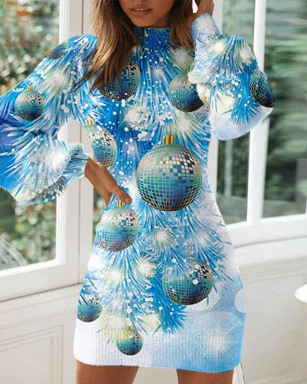 Ladies Christmas Eve Fashion Long Sleeve Dress