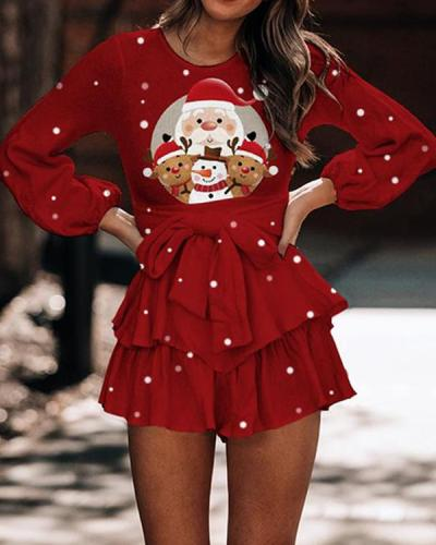 Ladies Sweet Christmas Bow-knot Ruffle Skirt Dress