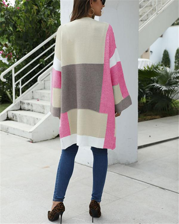 Color Blocks Open Front Cardigan