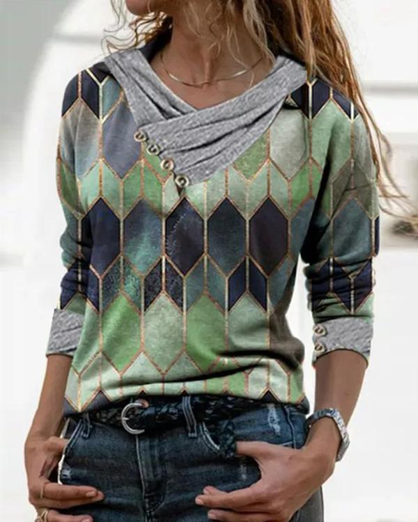 Color Block Casual Pleated V-Neckline Blouses