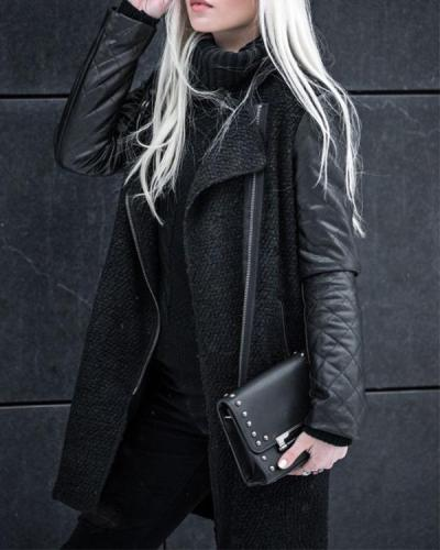 Black Fashion Long Sleeve Coat
