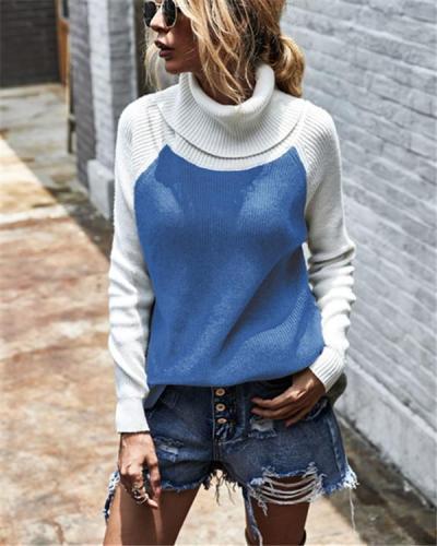Colour Blocking Turtleneck Chic Women Sweater