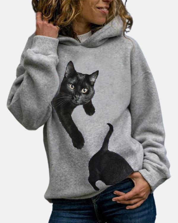 Casual Cotton-Blend Hoodie Sweatshirt