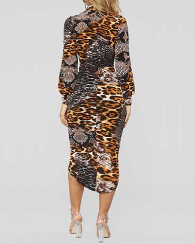 Deep V Leopard Print Long Sleeve Dress