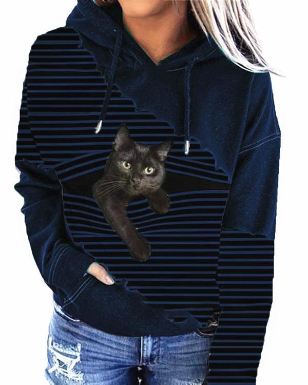 Women Fashion Cat Print Drawstring Hoodies