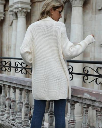 Solid Color Pocket Cardigan Sweater