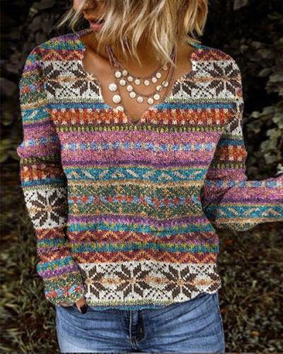 Women Exotic V Neck Long Sleeve Colorful Sweater