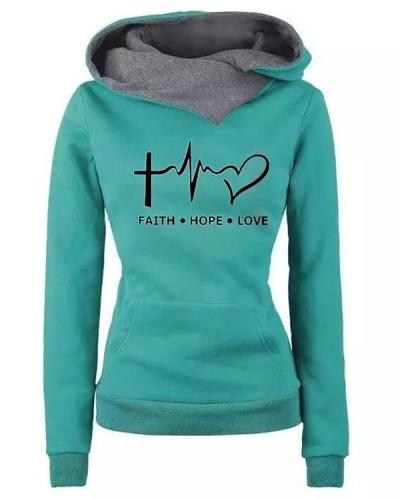 Women Letter Print Casual Long Sleeve Hoodies